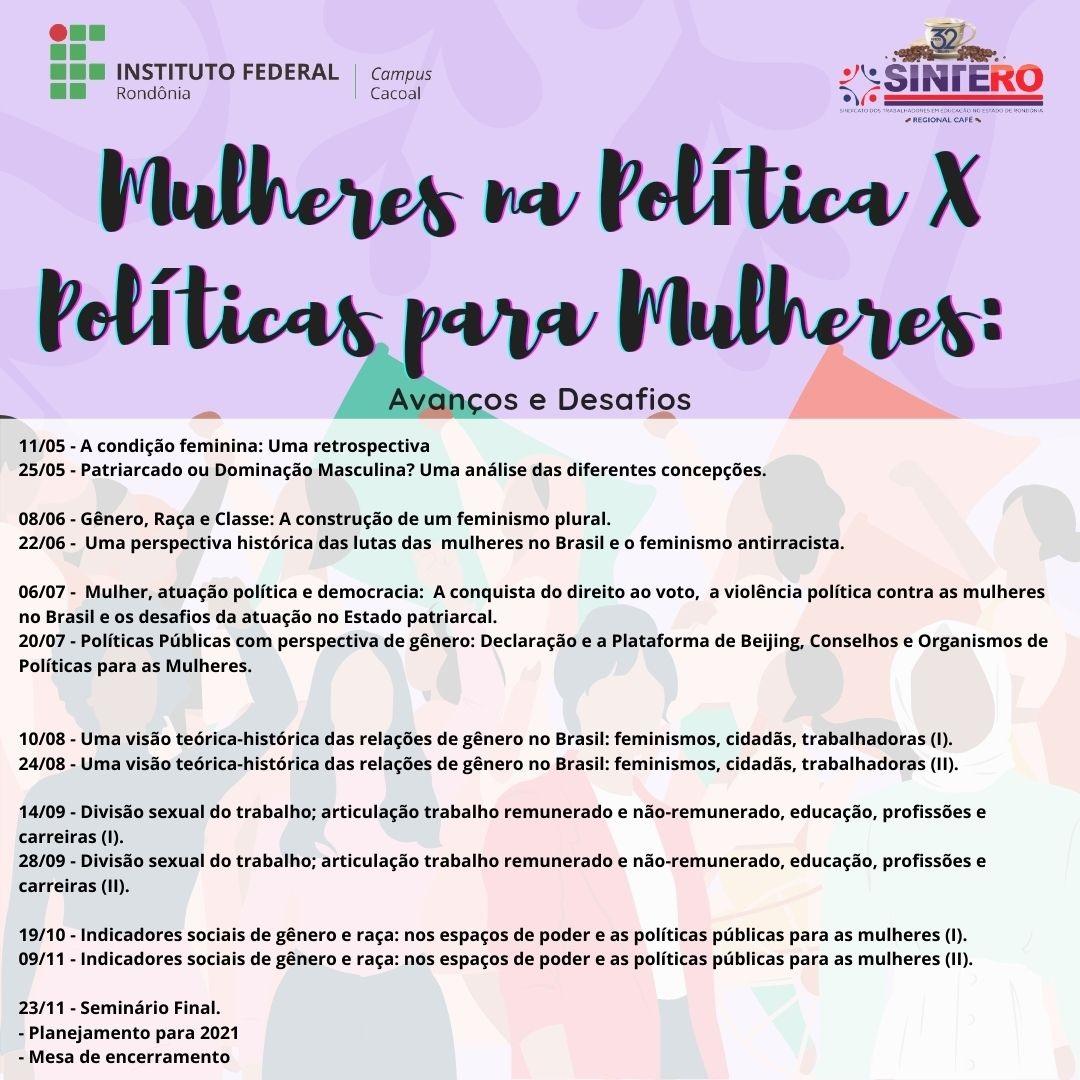 Campus Cacoal Mulheres na política cronograma